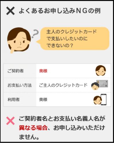 申し込みNG例